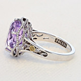 Crescent Crown Rose Amethyst Fashion Ring (SR12313)