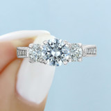1.25 ct Round Three Stone Pavé Engraved Engagement Ring (EN43)