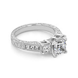 1.50 ct Princess Cut Three Stone Engraved Engagement Ring (CR45L)
