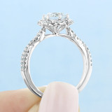 1 ct Round Floral Halo White Gold Engagement Ring (FG528)