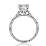 1.00 Ct. Round Moissanite 6-Prong Engraved Solitaire Engagement Ring  (EV8-M)