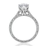 Engraved Solitaire Moissanite Engagement Ring  (EV8-M)