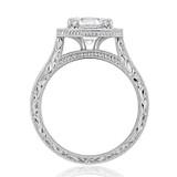 1.50 Ct. Round Moissanite Halo Engraved Engagement Ring (EV58-M)