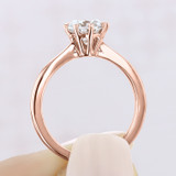 1.00 Ct. Round Moissanite Rose Gold Solitaire Engagement Ring (EV108-M)