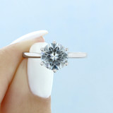 1.50 Ct. Round Moissanite 8-Prong Solitaire Engagement Ring (EV117-M)