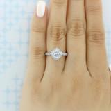 1.00 Ct. Round Moissanite Pavé Halo Engagement Ring (CR11-M)