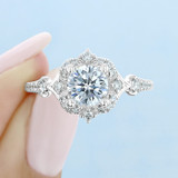 1 ct Round Gabriel Halo White Gold Engagement Ring (ER14411)