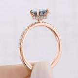 Rose Gold Grey Moissanite Engagement Ring (CR19R-M)
