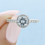 1 ct Round Halo Micro-Prong White Gold Engagement Ring (FG442)