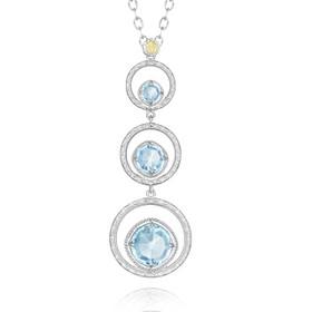 Gemma Bloom Three-Stone Sky Blue Topaz Fashion Necklace (SN14502)