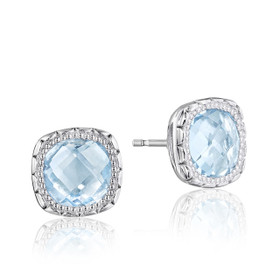 Crescent Embrace Sky-Blue Topaz Fashion Earrings  (SE24502)