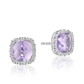 Crescent Embrace Rose Amethyst Fashion Earrings  (SE24513)