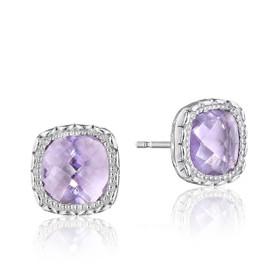 Crescent Embrace Rose Amethyst Fashion Earrings  (SE24513)