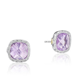 Crescent Embrace Rose Amethyst Fashion Earrings  (SE24713)
