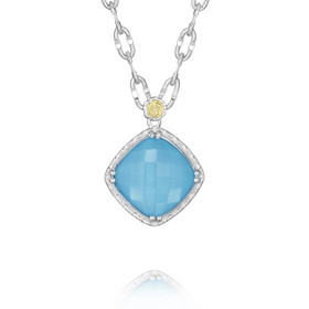 Crescent Embrace Petite Neo-Turquoise Fashion Necklace (SN13505)