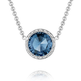 Crescent Embrace London Blue Topaz Fashion Necklace (SN15333)