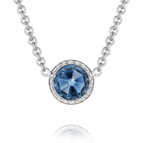 Crescent Embrace Petite London Blue Topaz Fashion Necklace (SN15433)
