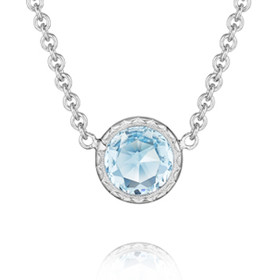 Crescent Embrace Petite Sky Blue Topaz Fashion Necklace (SN15402)