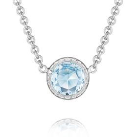 Crescent Embrace Petite Sky Blue Topaz Fashion Necklace (SN15402)