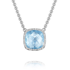Crescent Embrace Sky Blue Topaz Fashion Necklace (SN23202)