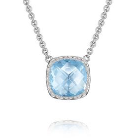Crescent Embrace Sky Blue Topaz Fashion Necklace (SN23202)