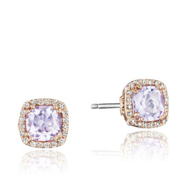 Crescent Crown Petite Pavé Rose Amethyst Fashion Earrings (SE244P13)