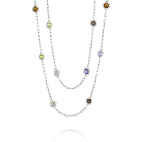 Crescent Crown Assorted Gemstone Fashion Necklace (SN108)