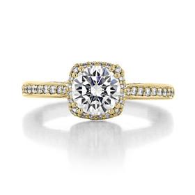 1.00 Ct. Round Moissanite Tacori Yellow Gold Dantela Engagement Ring (2620RDSMPY-M)