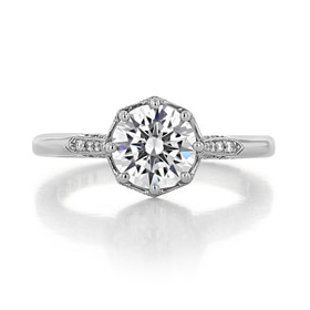 1.50 Ct. Round Moissanite Platinum Simply Tacori Pavé Engagement Ring (2653RD75-M)