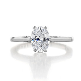 1.50 Ct. Oval Shape Moissanite Platinum Simply Tacori Solitaire Engagement Ring (2650OV8X6-M)