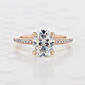 Micro-Prong Oval Shape Moissanite Engagement Ring (2006036)