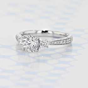 Gabriel NY Engraved Three-Stone Round Shape Lab Diamond Engagement Ring (2006361)