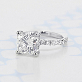 Gabriel NY Micro-Prong Cushion Shape Moissanite Engagement Ring (2006109)