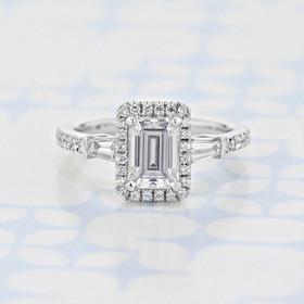 Gabriel NY Halo Emerald Shape Moissanite Engagement Ring (2006177)