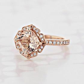 Custom Halo Cushion Shape Morganite Engagement Ring (2006051)