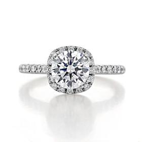 Lab Diamond Halo Engagement Ring (EV14-LD)