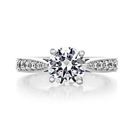 1.50 Round Pavé White Gold Engagement Ring (CR88)