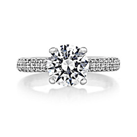 2 ct Round Triple Pavé White Gold Engagement Ring (CR159)