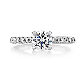 1 ct Round Pavé White Gold Engagement Ring (DC58)