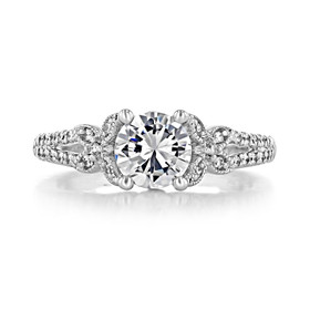 1 ct Round Micro-Prong Split Body White Gold Engagement Ring (FG436)
