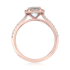 Rose Gold Aquamarine Engagement Ring (R0868-4AQ)