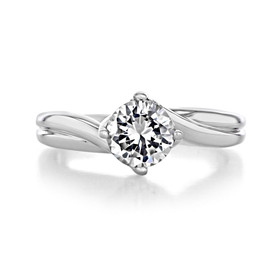 1 ct Round Twist Solitaire White Gold Engagement Ring (FG434)