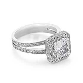 Double Pavé Halo Engagement Ring (CR87)