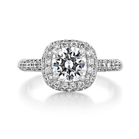 Triple Pavé Halo Engagement Ring (DC01)