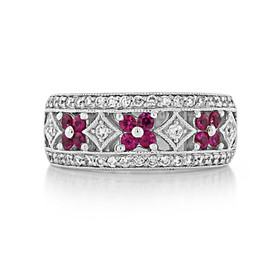 Art Deco Diamond & Ruby Band (D337)
