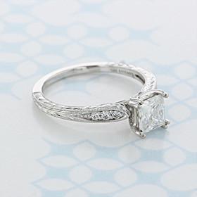 Engraved Princess Cut Moissanite Engagement Ring (2006840)