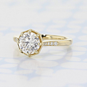 Pavé Round Shape Lab Diamond Engagement Ring (2006511)