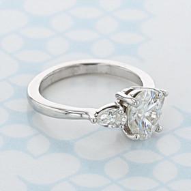 Three-Stone Oval Shape Moissanite Engagement Ring (2006857)