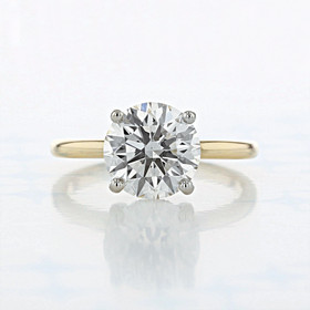 Two-Tone Solitaire Round Shape Lab Diamond Engagement Ring (2006802)