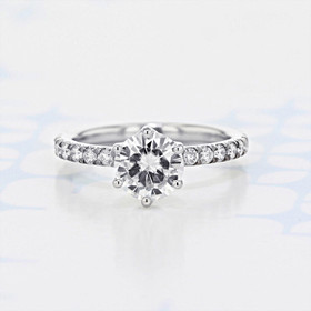 Micro-Prong Round Shape Moissanite Engagement Ring (2006546)